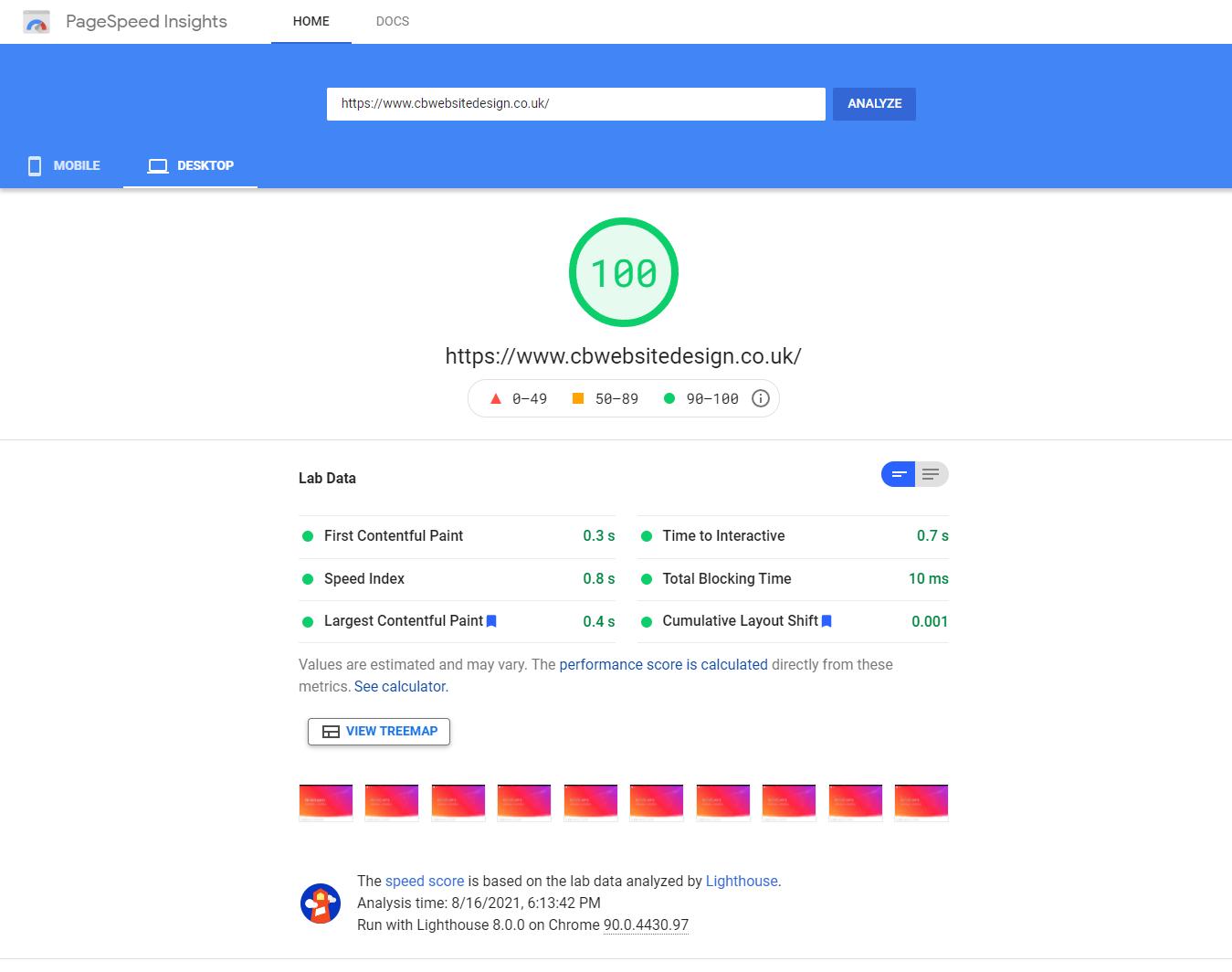 Creative Brand Design - PageSpeed Score of 100